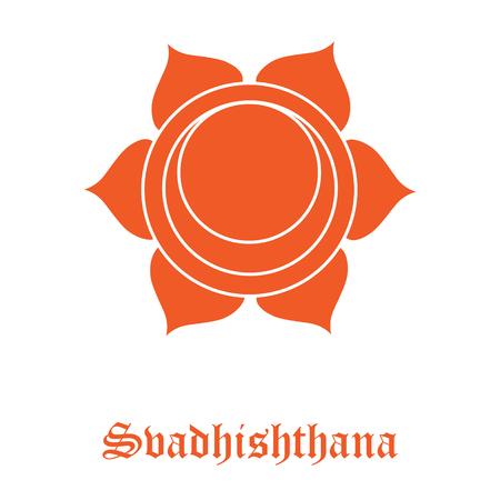 Vector Svadhishthana sacral chakra hinduism symbol orange  for meditation and yoga