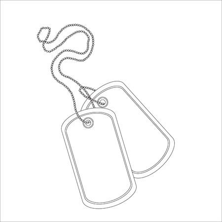 Ilustración de vector de contorno de etiqueta de identidad en blanco militar dibujo línea delgada. Par de placa de identificación en cadena
