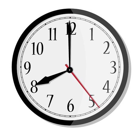 Vector simple classic black and white round wall clock isolated on white. Clock with arabic numerals on wall shows eight oclock Ilustração