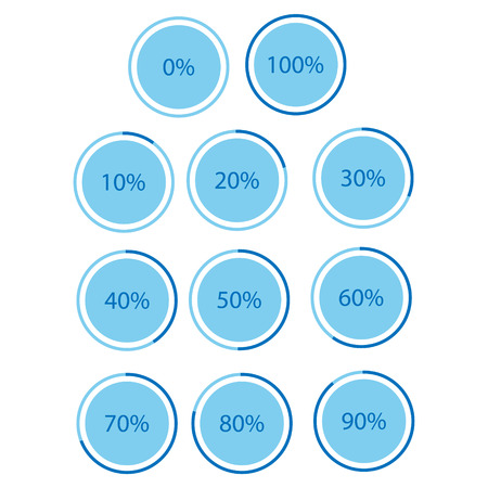 Vector illustration blue round, circle pie graph, chart with percentage 10 20 25 30 40 50 60 70 75 80 90 100 % icon set