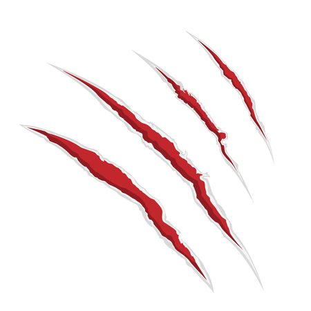Raster illustration claw scrathes.  Four vertical trace of monster claw, hand scratch, rip through, break through. Stock Photo
