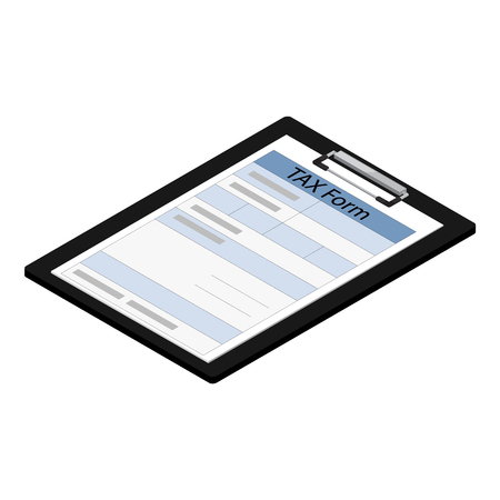 Raster illustration 3d isometric black clipboard with income tax form icon isolated on white background. Federal income tax form. Tax return 스톡 콘텐츠
