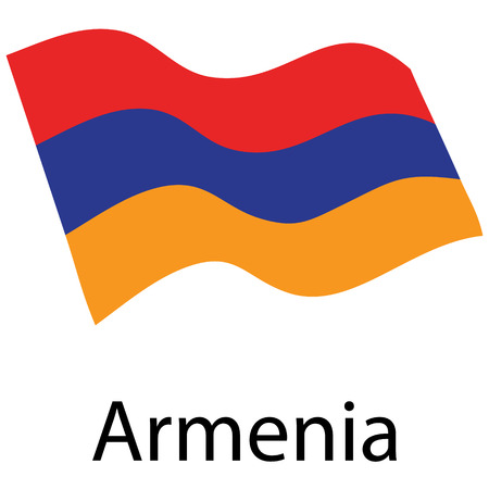 Raster illustration waving flag of Armenia icon. Armenian flag button isolated on white background