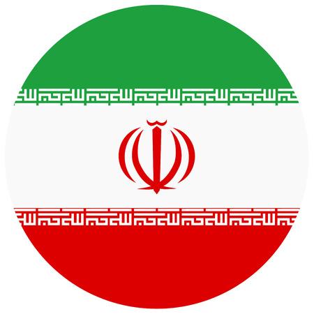 Raster illustration Iran flag icon isolated on white background. Round national flag of Iran. Flag button Stok Fotoğraf