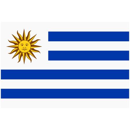Raster flag Oriental Republic of Uruguay.  National Uruguay flag button 스톡 콘텐츠