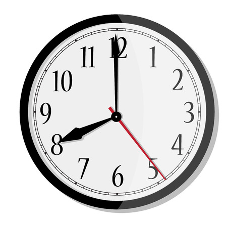 Raster simple classic black and white round wall clock isolated on white. Clock with arabic numerals on wall shows eight oclock