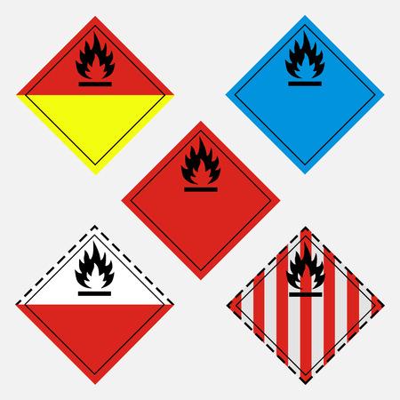 Raster illustration GHS pictogram icon set. Hazard transport flammable goods sign, symbol
