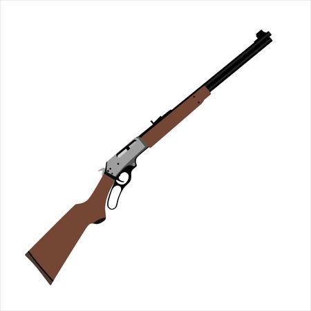 Raster illustration sniper rifle gun icon isolated on white background.