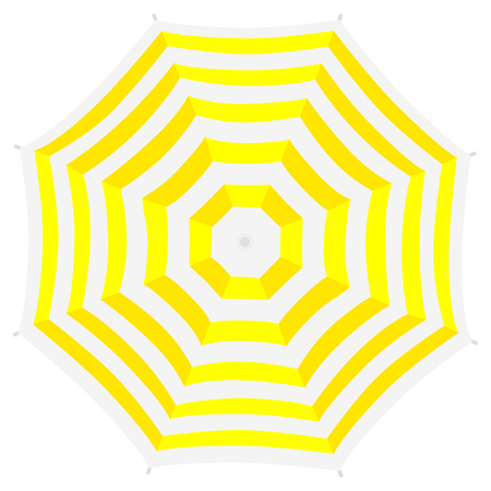 Yellow beach umbrella. Top view, striped design. Isolated on white background