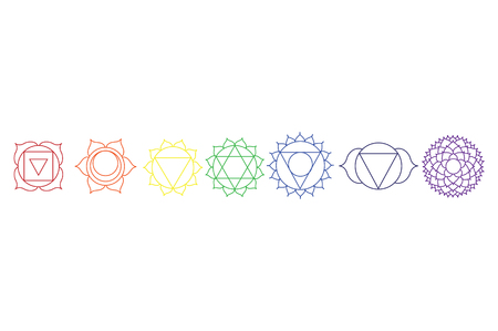 Raster illustration chakra icon set, collection. Yoga, Buddhism symbol