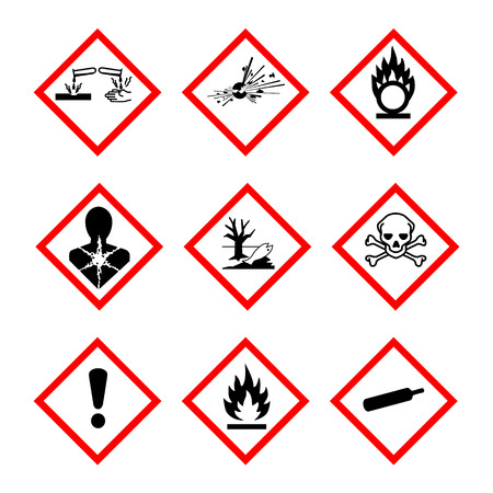 Raster illustration GHS pictogram hazard sign set, set icons isolated on white background. Dangerous, hazard symbol collections