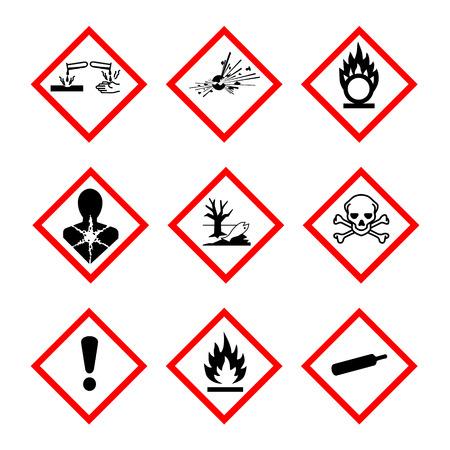 Raster illustration GHS pictogramme danger signe ensemble, définir des icônes isolés sur fond blanc. Collections de symboles de danger dangereux