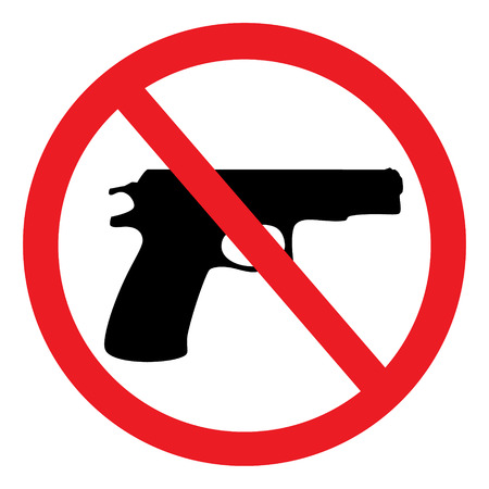 Red prohibition no gun round sign, symbol isolated on white background Foto de archivo
