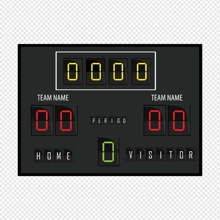 Stadium electronic sports scoreboard with soccer time and football match result display Raster illustration Imagens