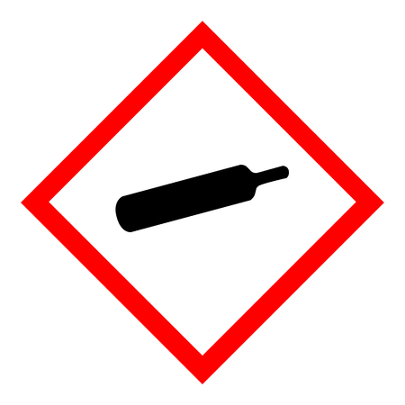 Raster illustration compressed gas sign isolated on white background.