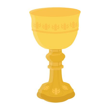 Ancient golden chalice Raster illustration. Church chalice