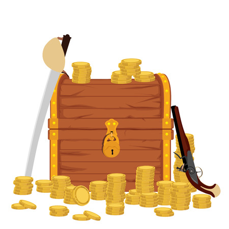 Raster illustration treasure chest with shinny gold, pirate hat and musket rifle. Adventure Archivio Fotografico