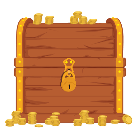 Raster  icon with cartoon closed  brown wooden pirate chest with golden metal stripes and padlock, full of treasure coins on white background Stock Photo
