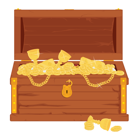 Raster pirate treasure chest full of gold an jewelry Stock Photo