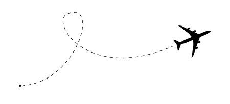Airplane line path vector icon. Air plane flight route with start point and dash line trace