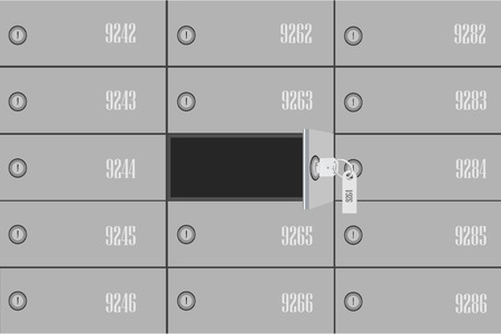 Vector illustration bank deposit boxes with one opened security box and key. Safe deposit box