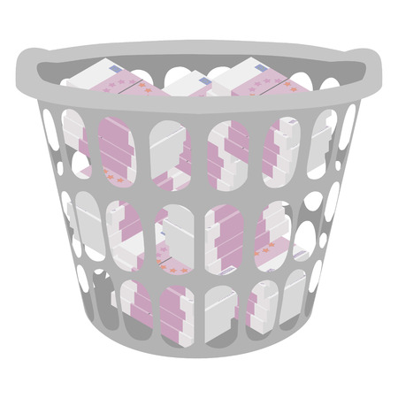 Wasting money concept. Throwing money in basket. Vector illustration. Full of money. Currency euro  イラスト・ベクター素材