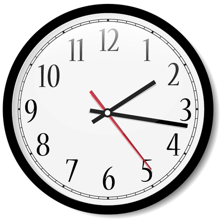 Vector simple classic black and white round wall clock isolated on white. Clock with arabic numerals on wall shows 15 minutes past two