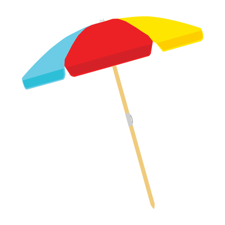 Beach umbrella color isolated on white background. Vector illustration