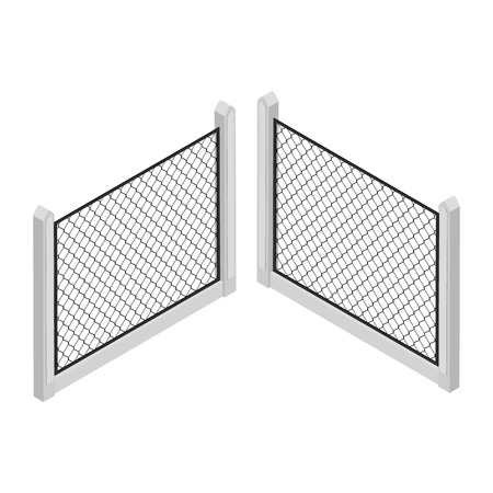 Isometric fence isolated on white. No solid fence. Iron gate. Fence with columns. Metal, wrought iron, lattice gates and fences for yard. Vector