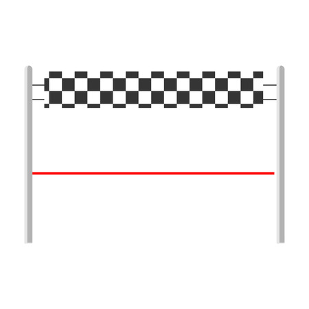 Ziellinie mit rotem Band. Fertig. Vektor-Illustration Vektorgrafik