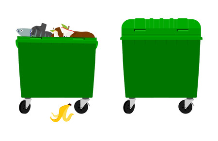 Overflowing and empty garbage bin, container. Vector  isolated on white background