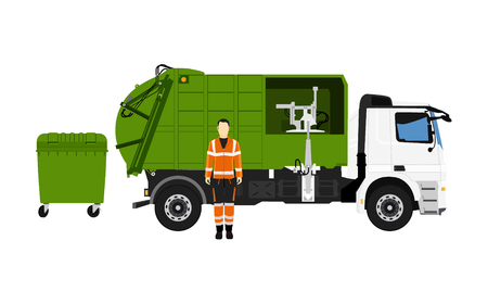 Garbage truck and sanitation worker. Vector illustration