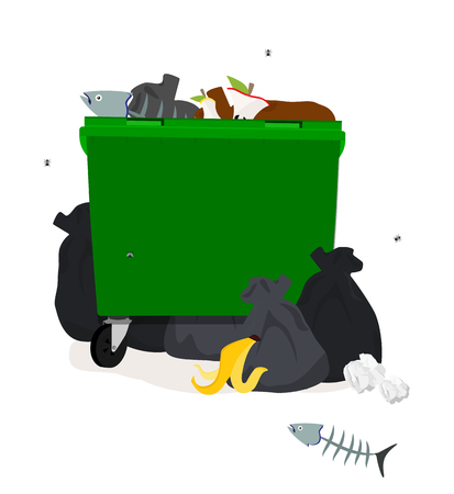 Vector illustration: Green plastic garbage containers with unsorted trash . Rubbish and trash bags lying around dump. Scene with pile of waste that smells ugly and started to decompose. Isolated on white.
