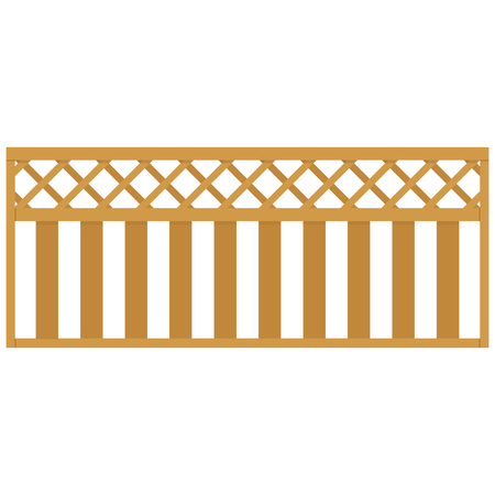 Wooden rural garden fence isolated on white background. Vector illustration