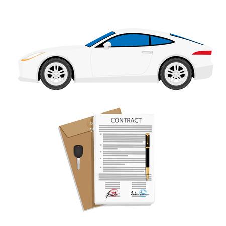 Contrat de location d'une voiture avec contrat, stylo et clés. Illustration vectorielle