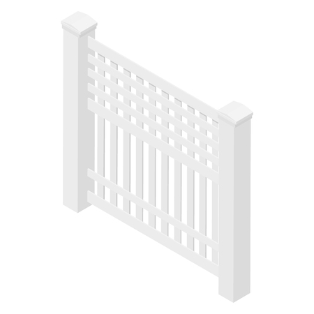 Wooden white rural garden fence isolated on white background. Vector illustration