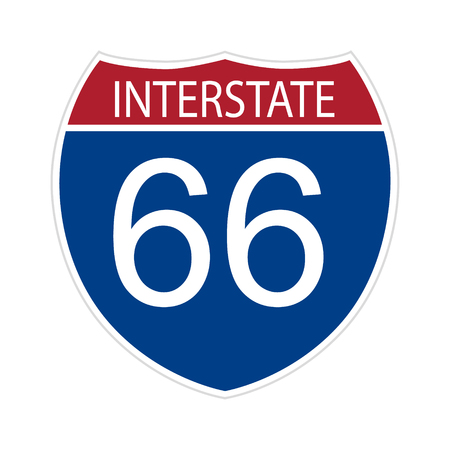 Road route sign intestate 66 sixty six. Vector illustration