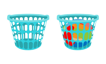 Basket with linens. Laundry basket with dirty clothes and empty laundry basket. Vector illustration Vektorové ilustrace