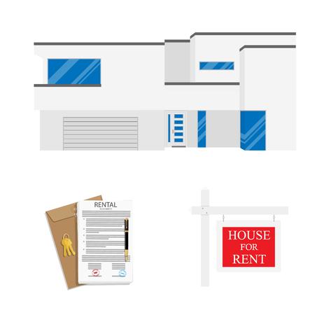 Rental agreement concept. Rental agreement, keys, pen and house. Vector illustration