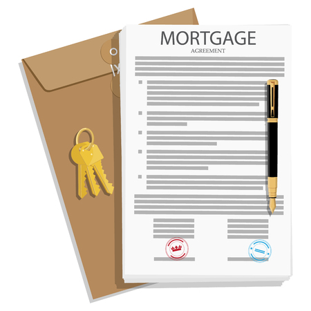 Mortgage loan application agreement, contract with house key and pen. Vector illustration