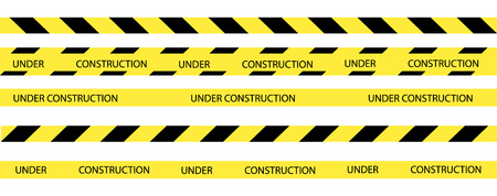 Vector set of seamless tapes. For restriction and dangerous zones. Yellow and black. Illustration
