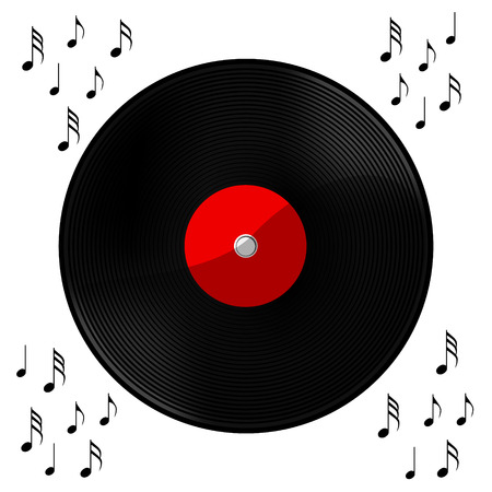 Gramophone record Long played record vinyl. Musical background. Vector illustration