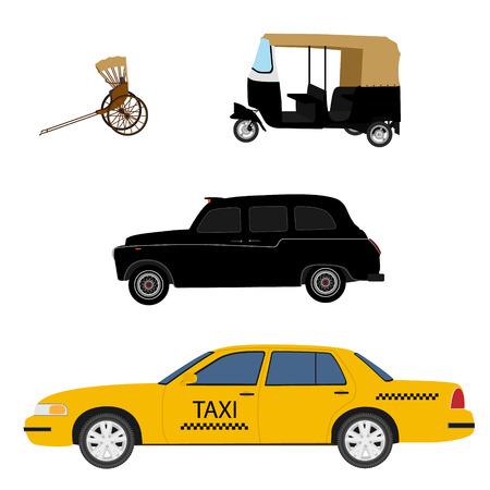 Taxi cab icon set: yellow taxi, London cab, hand pulled rickshaw and indian tuk-tuk. Vector illustration