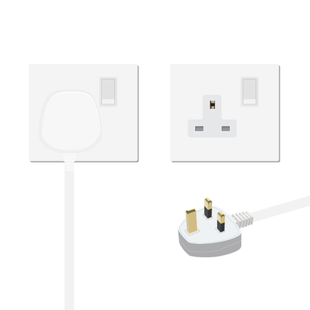 Realistic white plug inserted in electrical outlet, power socket and uk plug. Isolated on white background. Icon of device for connecting electrical appliances, equipment. Electric plug and socket. Vector illustration. Illustration