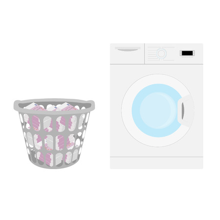 Wasting money concept. Throwing money in basket. Vector illustration. Washing machine and basket full of money. Currency euro