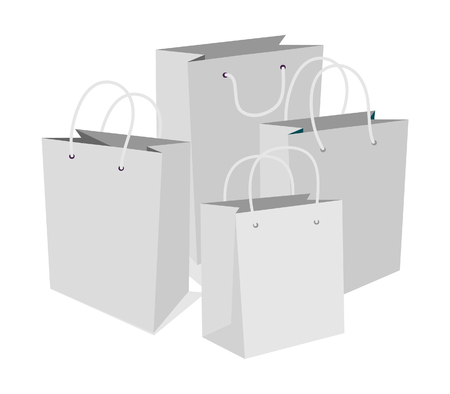 Set of Empty Shopping Bags Isolated in White. Vector Illustration