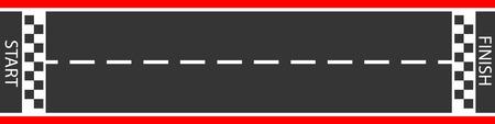 Vector illustration of finish line racing background top view.  Start or finish on kart race. Asphalt road. 向量圖像
