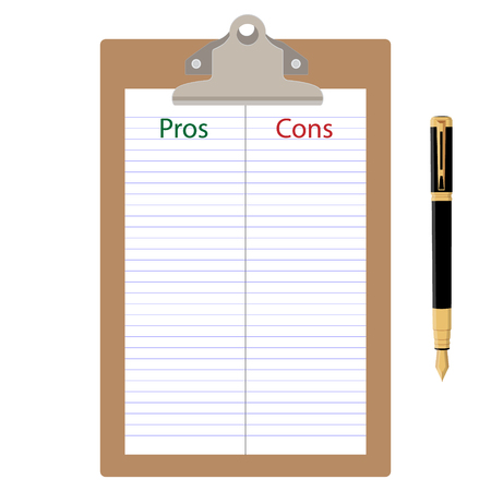 Pros cons concept. Pros Cons list paper on clipboard with pen. Vector illustration