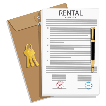 Rental agreement concept. Rental agreement, keys and pen. Vector illustration