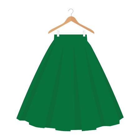 Vector green skirt template, design fashion woman illustration. Women bubble skirt on hanger
